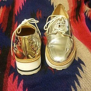 Zara Woman Metallic Sneakers